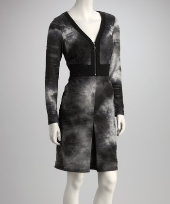 Gray & Black Tie-Dye Zip-Up Sheath Dress