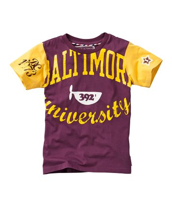 Sporty Dark Red 'Baltimore University' Tee