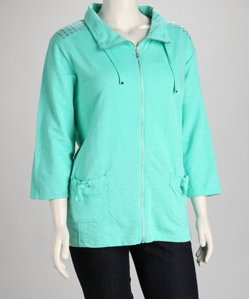 Onque Mint Embellished Plus-Size Jacket