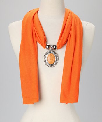 Orange Circle Pendant Scarf