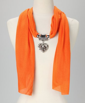 Orange Rosette Heart Pendant Scarf