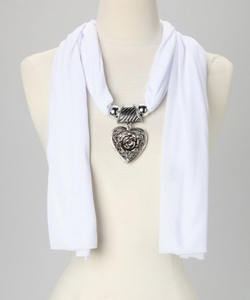 White Rose Heart Pendant Scarf