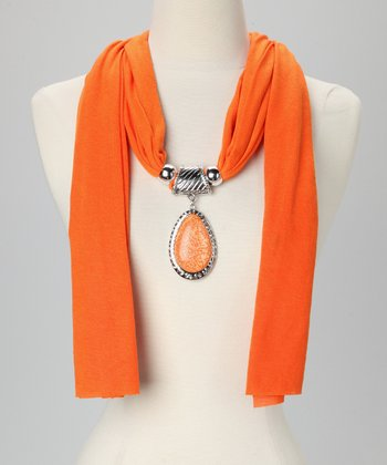 Orange Teardrop Pendant Scarf