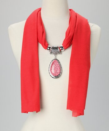 Red Teardrop Pendant Scarf