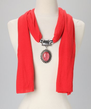 Red Beaded Circle Pendant Scarf