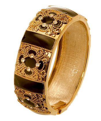 Gold & Black Baroque Hinge Bracelet