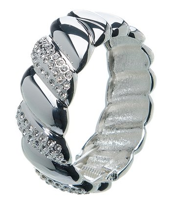 Silver & Crystal Alternating Hinge Bracelet