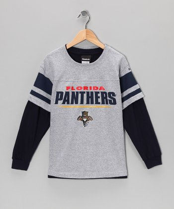Reebok Gray & Black Florida Panthers Layered Tee - Boys