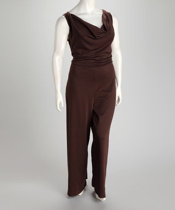Jill Alexander Chocolate Gwen Plus-Size Jumpsuit