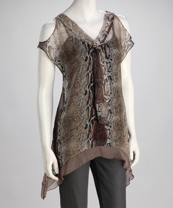Brown Sheer Snakeskin Sidetail Top