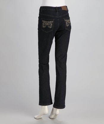 Dark Blue Mid-Rise Straight-Leg Jeans