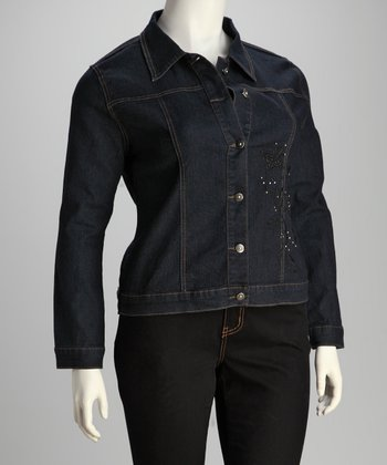 Dark Blue Denim Studded Plus-Size Jacket