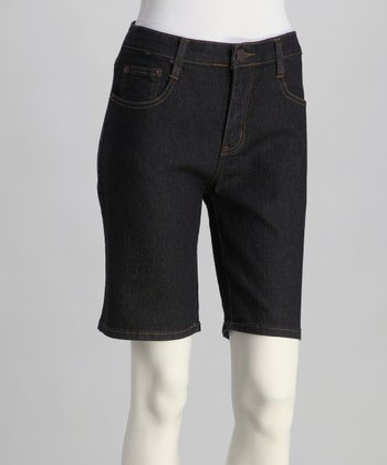 Dark Blue Mid-Rise Bermuda Shorts