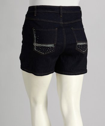 Indigo Dark Wash Jean Shorts - Plus