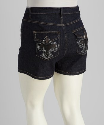 Dark Blue Rhinestone Denim Shorts - Plus