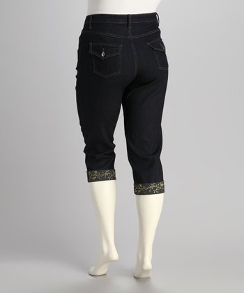 Dark Blue Embroidered Plus-Size Capri Jeans