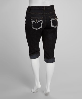 Dark Blue Embellished Button Flap Cuffed Capri Pants - Plus