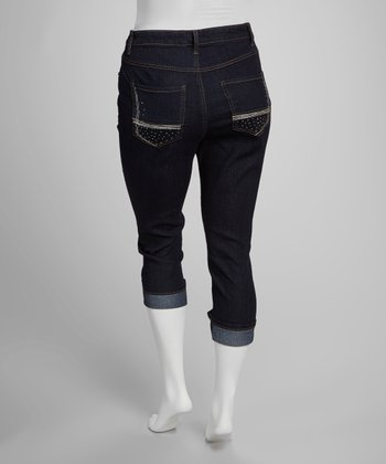 Dark Blue Embellished Cuffed Capri Pants - Plus