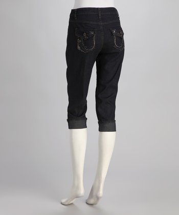 Dark Blue Mid-Rise Straight-Leg Cropped Jeans