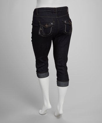 Dark Blue Button Flap Cuffed Capri Pants - Plus