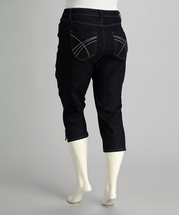 Blue Dark Wash Capri Jeans - Plus