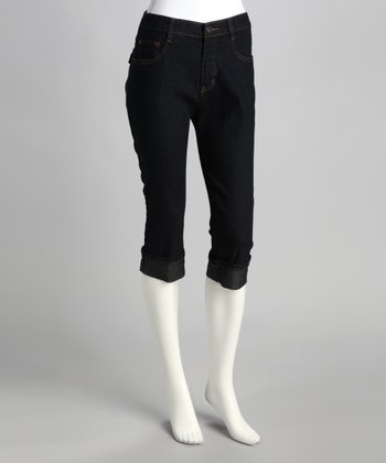Dark Blue Cuffed Denim Capri Pants