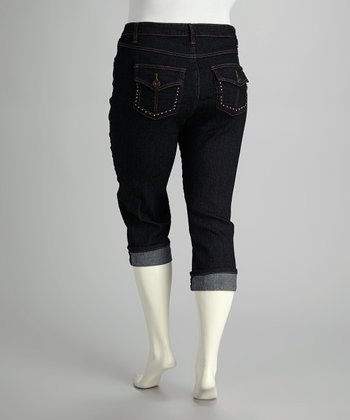 Indigo Dark Wash Cuffed Capri Jeans - Plus