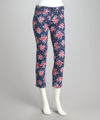 Navy Blue & Red Floral Ankle Pants