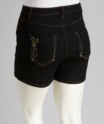 Black Denim Shorts - Plus