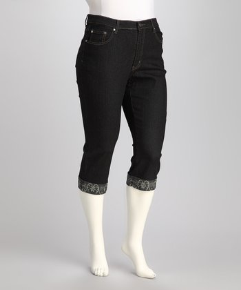 Dark Blue Plus-Size Capri Jeans