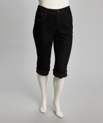 Black Cuff-Hem Denim Capri Pants - Plus