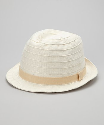 Natural Pleated Organic Fedora