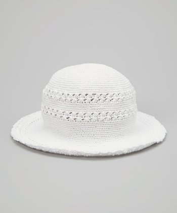 White Crocheted Bucket Hat