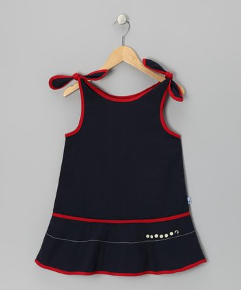 Navy & Red Lotta Reversible Jumper - Infant, Toddler & Girls