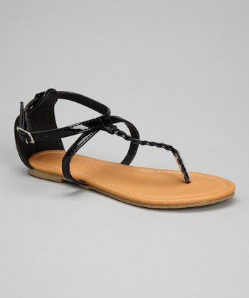 Black Patent Crisscross Braid Sandal