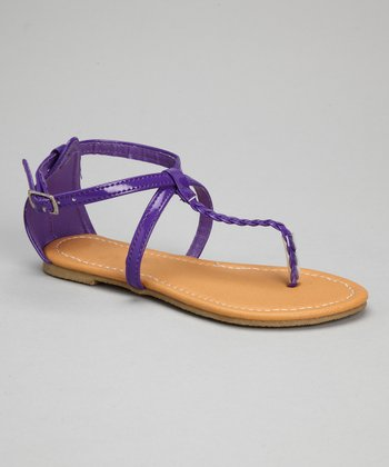 Purple Patent Crisscross Braid Sandal
