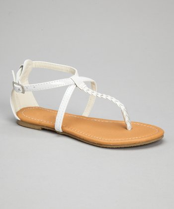 White Patent Crisscross Braid Sandal