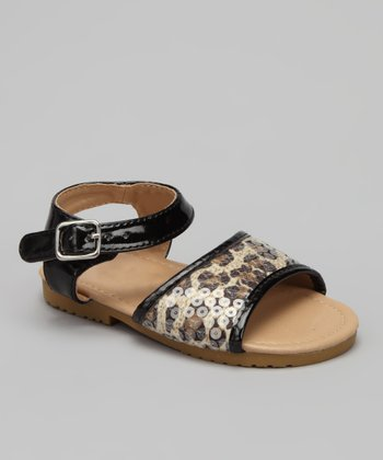 VeeVee Black Leopard Sequin Sandal
