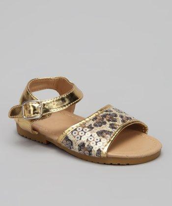 VeeVee Gold Leopard Sequin Sandal