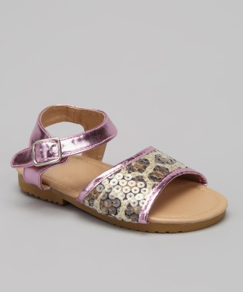 VeeVee Light Pink Leopard Sequin Sandal