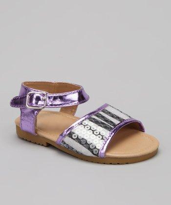 VeeVee Purple Zebra Stripe Sequin Sandal