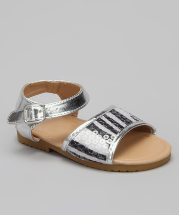VeeVee Silver Zebra Stripe Sequin Sandal