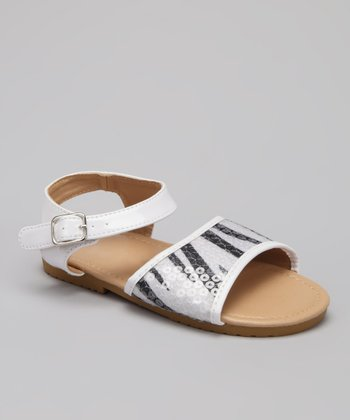 VeeVee White Zebra Stripe Sequin Sandal