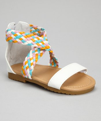White Rainbow Braid Sandal