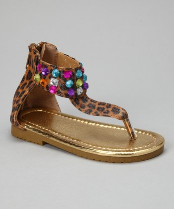 Brown Leopard Rainbow Sparkle Sandal