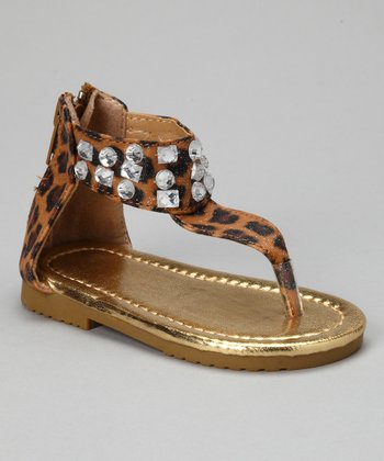 Brown Leopard Sparkle Sandal