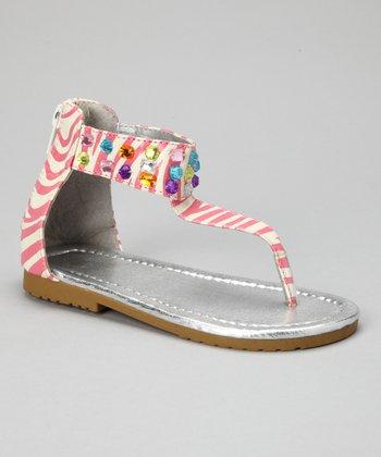 VeeVee Pink Zebra Rainbow Sparkle Sandal