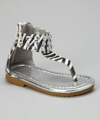 VeeVee Black Zebra Sparkle Sandal