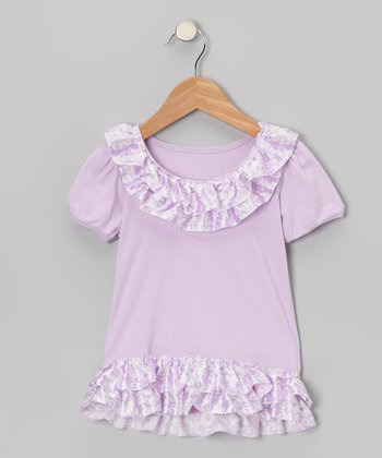 Lavender Damask Satin Ruffle Tee - Toddler & Girls