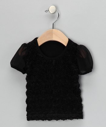 Black Rosette Tee - Infant, Toddler & Girls